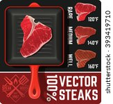 preparing meat steak on grill... | Shutterstock .eps vector #393419710