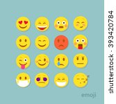 set of flat smiley emoticon.... | Shutterstock .eps vector #393420784
