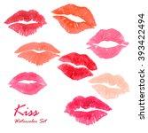 valentine kiss lipstick... | Shutterstock . vector #393422494