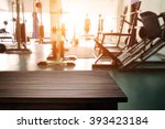 fitness gym and empty wooden... | Shutterstock . vector #393423184