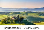 beautiful spring landscape in... | Shutterstock . vector #393423898