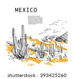 hand drawn mexico traveling... | Shutterstock .eps vector #393425260