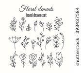 vector floral decorative set.... | Shutterstock .eps vector #393437584