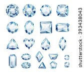 set of realistic white jewels.... | Shutterstock .eps vector #393438043