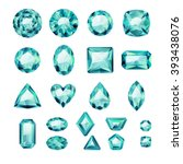 set of realistic green jewels.... | Shutterstock .eps vector #393438076