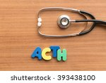 Small photo of acth colorful word on the wooden background