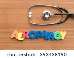 Small photo of aerophagy colorful word on the wooden background