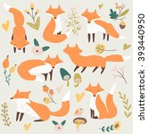 vector set of cute foxes with... | Shutterstock .eps vector #393440950
