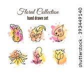 vector floral decorative set.... | Shutterstock .eps vector #393449140