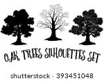 oak trees black silhouettes | Shutterstock .eps vector #393451048