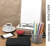 office desk   coffee with phone ... | Shutterstock . vector #393471859