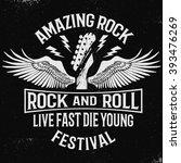 hand drawn rock festival poster.... | Shutterstock .eps vector #393476269