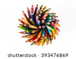 colour pencils isolated on...   Shutterstock . vector #393476869