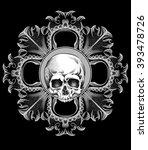 dotwork styled skull. vector... | Shutterstock .eps vector #393478726