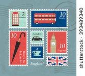 england postage   tourist... | Shutterstock .eps vector #393489340