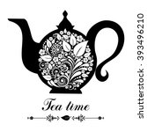 Tea Time. Teapot With Floral...