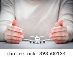 airplane model surrounded by... | Shutterstock . vector #393500134