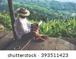 man traveler is using digital... | Shutterstock . vector #393511423
