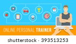 online personal fitness trainer ... | Shutterstock . vector #393513253