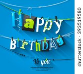 birthday card. clothespin and... | Shutterstock .eps vector #393519580