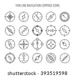 linear compass icons. thin line ... | Shutterstock .eps vector #393519598