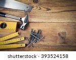 handsaw  hammer  level  nails... | Shutterstock . vector #393524158