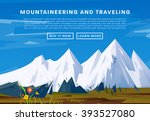 mountaineering and traveling... | Shutterstock .eps vector #393527080