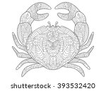 crab sea animal coloring book... | Shutterstock . vector #393532420