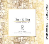gold and white square wedding... | Shutterstock .eps vector #393533950