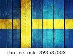 Sweden Wooden Grunge Flag....