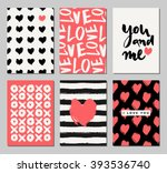 Stock vector a set of three valentine s day designs in black cream and coral red romantic greeting card 393536740