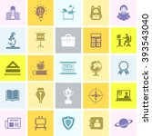 education flat colors icon set. ... | Shutterstock .eps vector #393543040