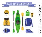 rafting and kayaking icons..... | Shutterstock .eps vector #393543820