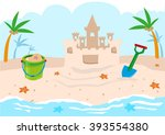 kids castle building tools on a ... | Shutterstock .eps vector #393554380