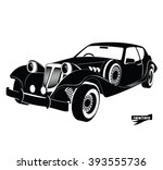 monochrome retro car  front... | Shutterstock .eps vector #393555736