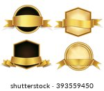 gold ribbons  badges   banners... | Shutterstock .eps vector #393559450
