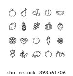 fruits and vegetables outline... | Shutterstock .eps vector #393561706