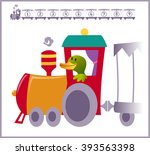 train with numbers and animals... | Shutterstock .eps vector #393563398
