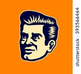 vintage 50s man face vector... | Shutterstock .eps vector #393566464