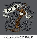hand drawing nautical anchor... | Shutterstock .eps vector #393570658