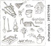 garden tools doodle set.... | Shutterstock .eps vector #393579598