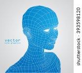 3d woman face anatomy study... | Shutterstock .eps vector #393598120