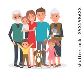 big family vector illustration. ... | Shutterstock .eps vector #393598633