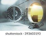 Sideview Of An Open Bank Vault...