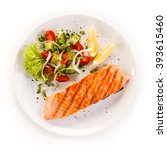 grilled salmon steak and... | Shutterstock . vector #393615460