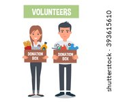 young  volunteers  with food... | Shutterstock .eps vector #393615610