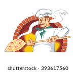pizzaiolo at work  pulls out... | Shutterstock .eps vector #393617560