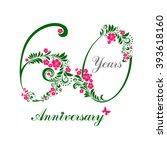 60 years anniversary. happy... | Shutterstock .eps vector #393618160