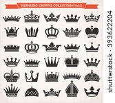 set of crown heraldic... | Shutterstock .eps vector #393622204