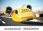 taxi car cab on road. 3d... | Shutterstock . vector #393624904